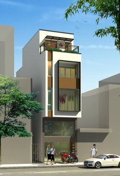 Top floor styles, roofing and railing idea Modern Small House Design, Small House Exteriors, House Front Design, Minimalist House Design, Narrow Lot House Plans, Small House Floor Plans, Residential Building Design, Townhouse Designs, House Elevation