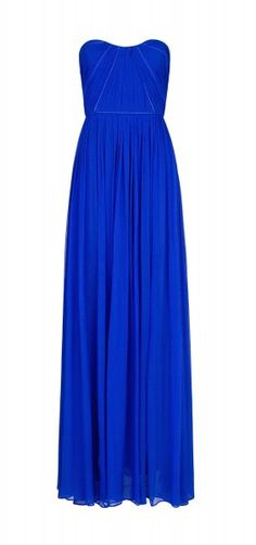 The Essentials: Elegant Maxi Dresses. Mango strapless silk maxi dress with ruched details. Love the color!