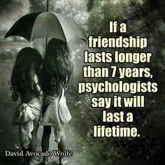 If a friendship lasts longer than 7 years, psychologists say it will last a lifetime http://www.huffingtonpost.com/irene-s-levine/the-seven-year-expiration_b_208468.html Also http://ics.uda.ub.rug.nl/FILES/root/Articles/2008/MollenhorstG-SocialP/MollenhorstG-Social-2008.pdf