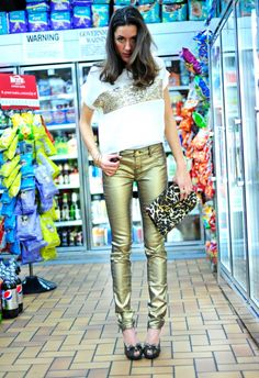 gold pants!? defintion of hot and dangerous.