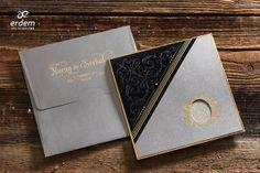 Erdem Davetiye Velvet Wedding Invitations, Wedding Invitation Samples, Gold Invitations, Invitation Paper, Elegant Invitations, Invite, Black Velvet, Grey One Piece, Letterpress Printing