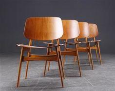 Børge Mogensen 1914-1972. Fire stole, teak og eg (4)
