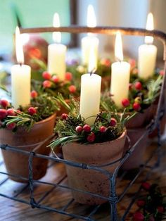 Vintage Decor Rustic Breath a little warmth in your home with rustic Christmas decorations. - We've compiled a list of homemade Christmas decorations to make this holiday. Get all the merriment without the extra cost with these rustic DIY projects! Noel Christmas, Rustic Christmas, All Things Christmas, Winter Christmas, Christmas Crafts, Christmas Candles, Simple Christmas, Advent Candles, Elegant Christmas