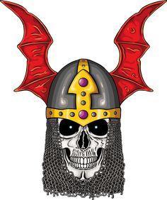 Illustration of warhammer warrior undead skull with fantastic medieval helmet.