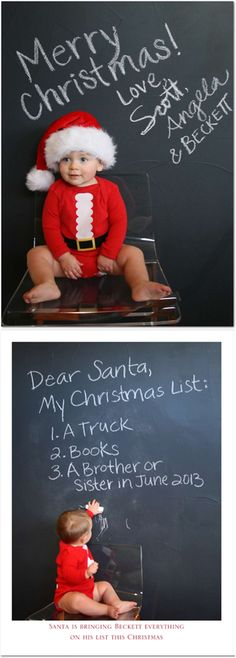 Adorable Christmas card set in front of a chalkboard wall  announcing baby number 2 via big brother's wish list to Santa!