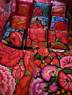 pillows made using hand embroidered vintage textiles from Oaxaca, Mexico.