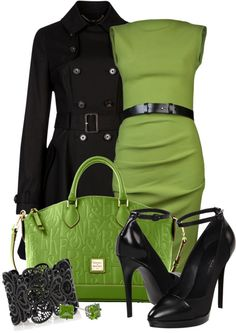 Belted Lime Green Shift Dress with Black Trench and Ankle Strapped Heels