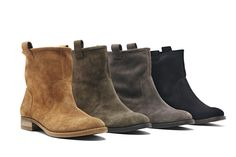 A best seller for a reason. Soft suede boots with a slouchy casual shape, pull tabs at the sides, rounded toe and stacked heel.