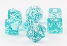 glitter ethereal dice light blue