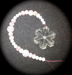 Crystal Snowflake Ornament 35 mm Light Pink Beads by JulsCraftCrazy, $12.00
