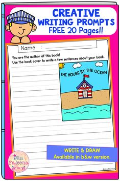Free Creative Writing Prompts contains 10 pages of writing prompts worksheets and 10 pages drawing a book cover. This resource is suitable for kindergarten through second grade students. Students have to use the book cover to tell a story about the book and draw a book cover using the title. Kindergarten | Kindergarten | First Grade | Second Grade | Free Creative Writing Picture Prompts | Writing Prompts | writing center | Write and Draw | Creative Writing Prompts Book Cover | Free Lessons Writing Prompts Book, Creative Writing Prompts, Writing Strategies, Writing Workshop, Writing Resources, Writing Skills, Creative Writing Pictures, Preschool Binder, Love Teacher