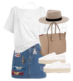 """""""Outfit with an embroidered denim skirt and platform sneakers"""" by ferned on Polyvore featuring Marc Jacobs, Red Herring, MANGO, Moreau, Yves Saint Laurent, Forever 21 and H&M"""