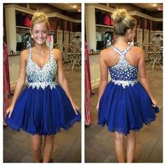 Royal Blue Pretty Beading Real Made A-Line Short/Mini Prom Dress,Homecoming Dress,Graduation Dress,Party Dress F72