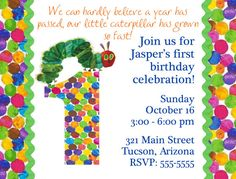 The Very Hungry Caterpillar invitation idea