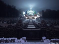 Hercules monument Kassel, in the snow