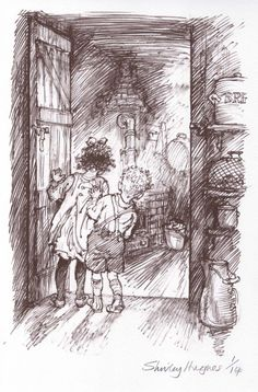 Original drawing by Shirley Hughes (from The Christmas Eve Ghost) Magazine Illustration, Children's Book Illustration, Illustration Children, Book Illustrations, Shirley Hughes, Children Sketch, Pen And Wash, Best Children Books, Children's Literature