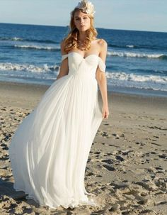 Beautiful off the Shoulder Empire Pleated LOng Chiffon Beach Wedding Dress #beachweddingdresses