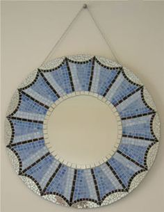 Round Mosaic Mirror in shades of blue