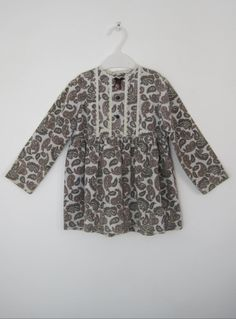 Original vintage 1960s girls' children's paisley dress in corduroy with bib front - Age 4 years