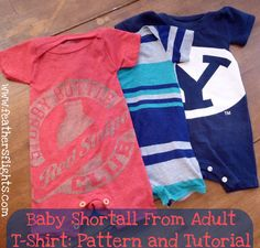 Quality Sewing Tutorials: Baby Shortall from Adult T-Shirt tutorial by Heather from Feather's Flights