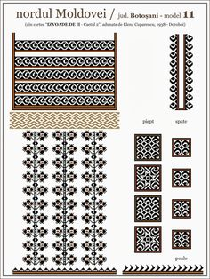 Ie model Dorohoi Embroidery Motifs, Moldova, Beading Patterns, Diy Clothes, Pixel Art, Cross Stitch Patterns, Weaving, Tapestry, Knitting