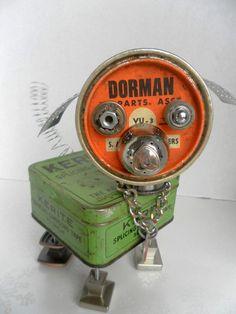 Butch Dog Bot - found object robot sculpture assemblage