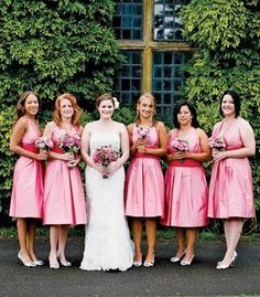 #Pink #bridesmaid dresses