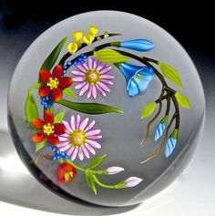 "Chris Buzzini paperweight - Spring Bouquet, 1989, 3 1/4""w x 2 5/8""t, 19.7 oz. - #0653"