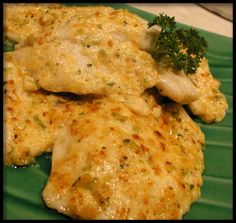 Mama's Parmesan Talapia 2 lbs tilapia fillets 2T lemon juice 1⁄2 c grated parmesan 4 T butter room temp 3 T mayonnaise 3 T green onions 1⁄4 t seasoning salt 1⁄4 t basil black pepper In buttered 13X9 pan, lay fillets in single layer. Brush top with juice. Combine cheese, butter, mayo, onions and seasonings. Bake fish 350 10 to 20 min or until fish just starts to flake. Spread with cheese mix, bake until golden, about 5 min. Watch fish closely so that it does not overcook.