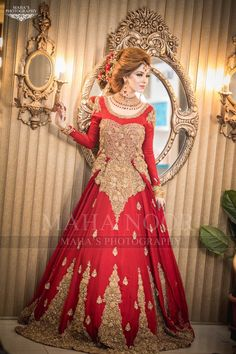 Red Dulhan Maxi in Lahnga Shape.Stylish Bridal Lahnga Maxi Embalished With Pure Dabka Nagh Zari And Pearls Work. Bridal Mehndi Dresses, Pakistani Wedding Dresses, Bridal Outfits, Bridal Lehenga, Fancy Dress Design, Bridal Dress Design, Bridal Style, Shadi Dresses, Pakistani Dresses Casual