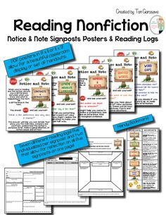 Based on the revolutionary and game changing new book Reading Nonfiction: Notice and Note Stances, Signposts and Strategies by Beers and Probst, I created a set of coordinating posters (anchor charts), reading logs, and bookmarks for the following five signposts: Contrasts and Contradictions Word Gaps Quoted Words Numbers & Stats Extreme & Absolute Language These five signposts help students recognize significant moments in in virtually any piece of nonfiction.