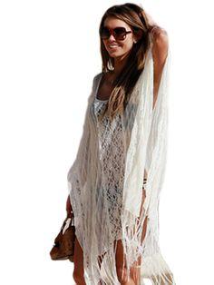 Jollychic Stylish Lace Patchwork Tassels Women Sun Proof Dress