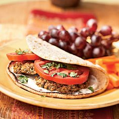 """Baked Falafel Sandwiches with Yogurt-Tahini Sauce - I love falafels, but I cannot stand deeply-fried food; this recipe was easy to do and the results were very good. I replaced the Greek Yogurt with """"Labneh"""" (almost same texture), since I'm from Lebanon."""