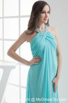 Aqua Blue Beaded Halter Top Prom Dress Maxi Dress for Pregnant Women