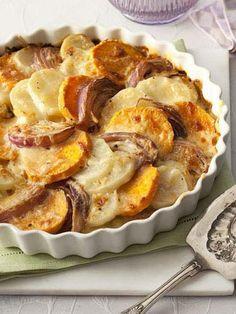 What's better than potato gratin? Two potato gratin! This dish calls for yellow and sweet potatoes. Get the recipe for Two-Potato Gratin Creamy Potato Recipe, Potato Gratin Recipe, Potatoe Gratin, Potato Spuds, Potato Salad, Potato Dishes, Potato Recipes, Veggie Dishes, Hasselback Sweet Potatoes