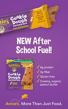 3de5e81768f3 Set the after school snack bar high with Annie s NEW Cookie Dough Protein  Bars! Packed
