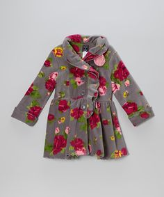 Take a look at this Gray Rose Ruffle-Collar Coat - Infant, Toddler & Girls on zulily today!