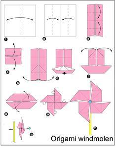origami windmolen vouwen