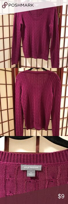 Ann Taylor Scoop Neck Sweater Ann Taylor Scoop Neck Cable Knit Burgundy Pullover . Size Medium. Excellent Used Condition. Ann Taylor Other
