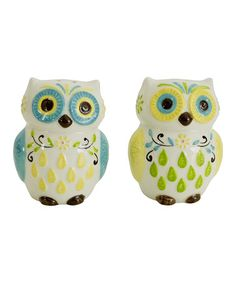 This Floral Owl Salt & Pepper Shakers by Boston Warehouse is perfect! #zulilyfinds