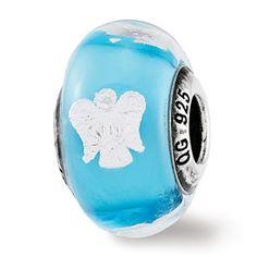 Sterling Silver Reflections Foil Angel Blue Italian Glass Bead