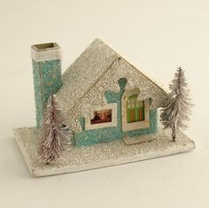 turquoise Putz style glitter house