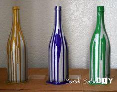 wine bottle crafts | DIY Mardi Gras Centerpiece - DIY Crafts Blog | Sarah SaturDIY