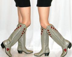 vintage 80s Justin heart cowgirl boots womens by thevintagevoice