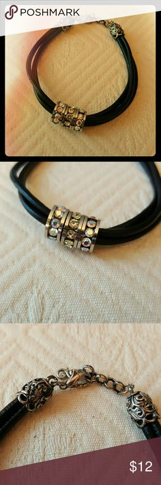 Leather & Bling! Handmade by IMHF CREATIONS,  this little black leather bracelet has just enough sparkle to add some shimmer and shine to your wardrobe. Jewelry Bracelets
