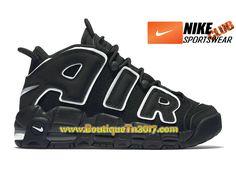 outlet store 35ab8 b7a2c Nike Air More Uptempo (2016) GS Chaussures Nike Basket Pas Cher Pour Femme  Noir Blanc 415082-002