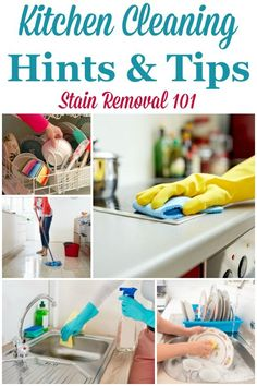 Here is a round up of over 30 kitchen cleaning hints and tips, for all types of items in your kitchen, to help you clean it faster and more easily {on Stain Removal 101} #KitchenCleaning #CleaningKitchen #KitchenCleaningTips Deep Cleaning Tips, House Cleaning Tips, Spring Cleaning, Car Cleaning, Bathroom Cleaning Hacks, Toilet Cleaning, Kitchen Cleaning, Kitchen Tips, Clean Baking Pans