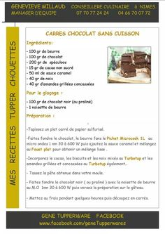 Tupperware - Carrés chocolat sans cuisson