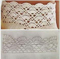 Crochet Shawl Diagram, Crochet Lace Edging, Crochet Borders, Crochet Stitches Patterns, Crochet Chart, Knit Or Crochet, Crochet Scarves, Crochet Doilies, Crochet Clothes