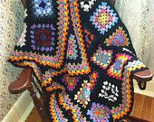 Traditional Granny Square Afghan in Fun Colors with a Black Border